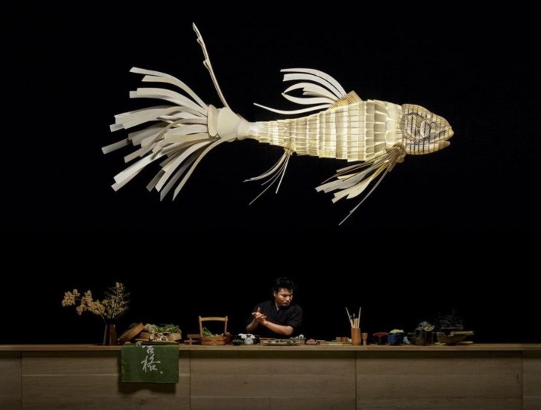 Эта Рыба на самом деле лампа, изготовленная из древесного шпона.